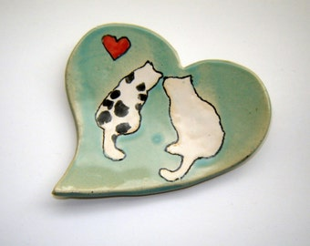 Cat Dish - Handpainted Heart Plate - Tea Bag Holder - Spoon Rest - Black and White Cats - Gift for Pet Lover