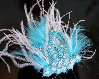 Turquoise Blue Feather Dance Hair Clip Fascinator