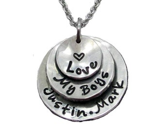 Love my Boys Layered Hand Stamped Necklace