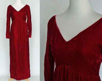 60's / 70's Red Velvet Gown / Long Sleeves /  Empire Waist / XSmall to Small