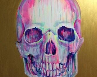 Pinky original skull painting by Jennifer Moreman