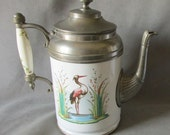 French Granite Ware Teapot Coffee Pot, Aesthetic Heron Birds
