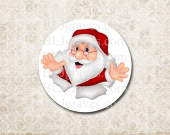 Christmas Santa Surprise Stickers Holiday Envelope Seals Party Favor Treat Bag Stickers CS023