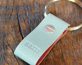 Monogrammed Robin's Egg and Red Leather Keychain - Short & Wide Style