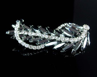 Vintage Cascading Brooch HUGE statement piece Dramatic dimensional sparkling ribbon navettes 3 1/2""