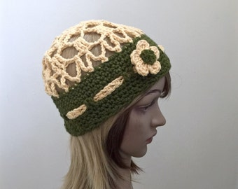 City Park Beanie - In Designer Cotton Yarn - in Springtime Yellow and Green- BEACH COLLECTION - Summer Spring Fall All Season
