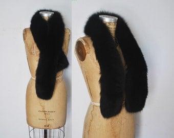 Genuine Black Fox Fur Scarf BOA Stole / fur collar