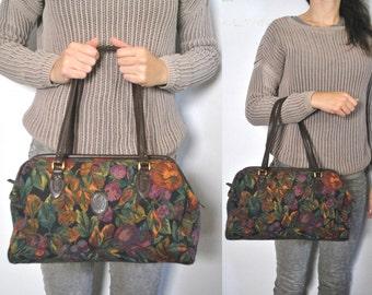 Floral Tapestry Doctor Bag / speedy Purse Satchel