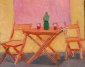 "Summer Street Chairs- Original Acrylic Oil Encaustic Still Life Painting - 10"" x  10"""