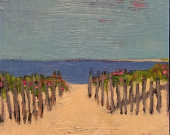 "The Welcoming Beach - Original Acrylic Oil Encaustic Landscape Painting 8""x 8"""