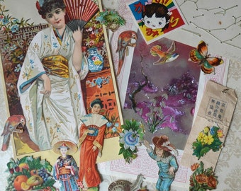 Antique Oriental Victorian Scraps Prints Lot Children Women Scenic Floral