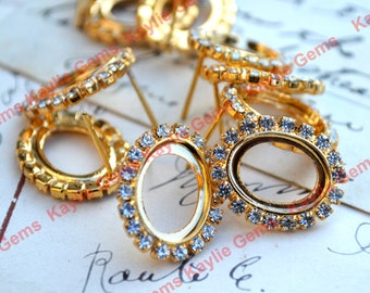 Vintage Earring Stud 14x10mm Oval Rhinestone Crystal Gold Plated Open Back- 1 pair - Limited Offer