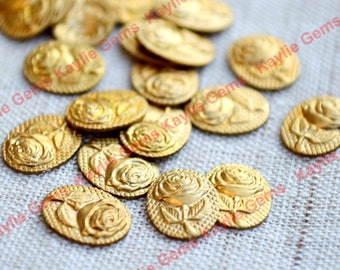 Vintage Small Rose Flower Stamping Brass Oval 10x8mm - 12pcs