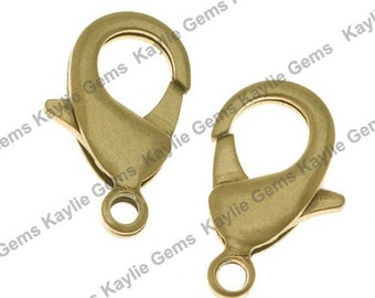 Solid Nature Raw Brass Lobster Clasps 15x8mm 10 pcs