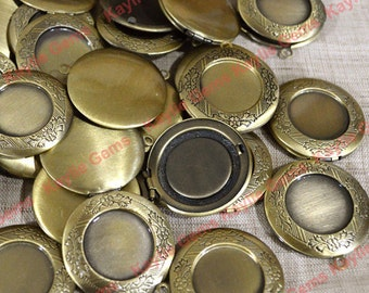 SALE - 10 Oil Rubbed Antique Brass Round Lockets 32mm - 10pcs