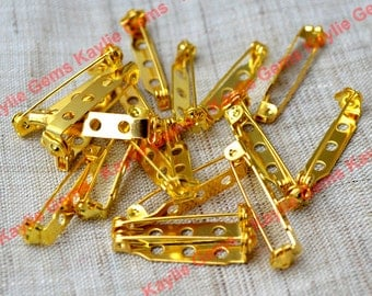 Brooch Safety Bar Pin 28mm with Safety Lock Feature-Gold Plated-12 pcs