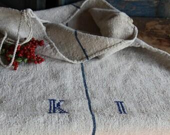 C 576  antique FRENCH INDIGO grain sack upholstery fabric 44.88long cushions pillow