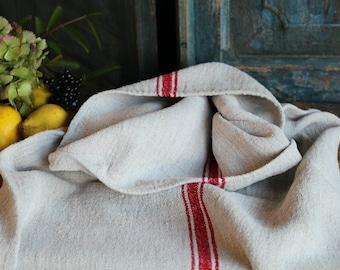 Nr. A358: grainsack,  antique linen; BRIGHT RED pillow benchcushion; 44.88 long;  wedding decoration; christmas, thanksgiving
