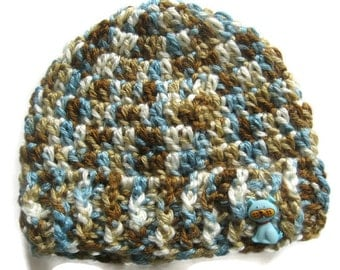 Ready To Ship - Blue Brown Crochet Baby Hat - Crochet Dog Hat - Crochet Blue Brown Newborn Baby Boy Beanie - Size  0 - 3 Months