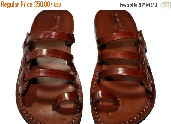 15% OFF Brown Sky Leather Sandals for Men & Women - Handmade Unisex Sandals, Flip Flop Sandals, Jesus Sandals, Genuine Leather Sandals