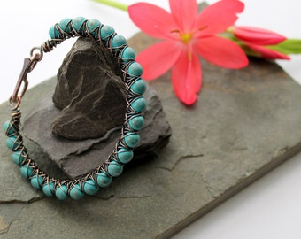 Kiss Kross Bracelet - Copper and Turquoise