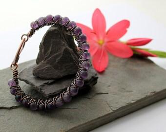 Kiss Kross Bracelet - Copper and Amethyst