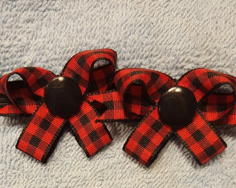 Red / Black Houndstooth Check Snap N Go Dog Hair Bows - Set of 2 or Custom Single