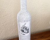 Alice in Wonderland Upcycled Glass Bottle - Chapter 1 - Down the Rabbit Hole