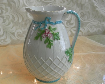Antique Aqua And White China Pitcher - Circa 1900