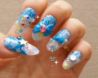 Cosplay, Japanese 3D nail, blue, star, mercury, anime, magical girl, nail dangling, bows, hearts, Harajuku, glittery, Halloween, sailor