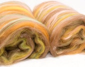 RESERVED   Hand Carded Batts, Merino, Cheviot, hand dyed British Falkland, Soy silk, Spinning fibre, felting, 228g, colour ;Fell walker