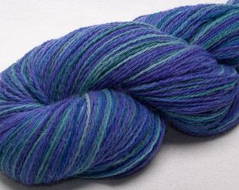 Hand painted  ALPACA/LAMBSWOOL- Hand dyed Indie 2ply yarn 625 yard skein Kitty's Garden