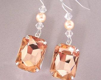 Large peach earrings, peach bridal, vintage glass, emerald cut peach jewels, Swarovski crystal, peach glass octagon earrings, statement
