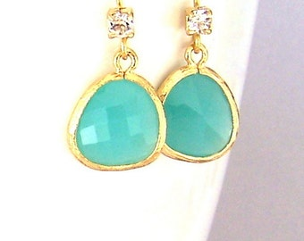 Small green and gold earrings, gold framed green glass earrings, seafoam, light turquoise, beach theme, bridal jewelry