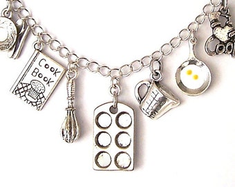 Cooking necklace, bakers necklace, bakers bracelet, cookbook charm, whisk necklace, muffin pan necklace, frying egg, love to cook