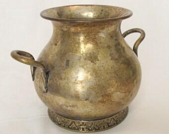 Vintage Silverplate Urn Vase Tarnished Jug Handles Patina DIY Garden Wedding Decor Silver Pot Vase Holder Container Primitive