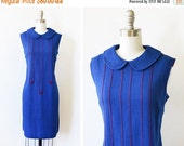 25% OFF SALE 1960s blue mod dress, vintage 60s mod scooter dress, medium large shift dress with peter pan collar
