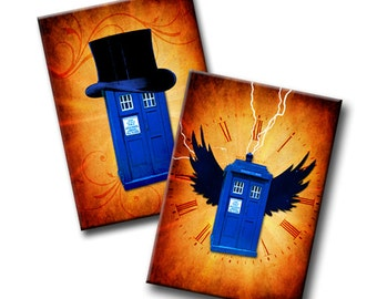 Flight of the Tardis - 2.5 x 3.5 inches - Instant Download - ATC cards