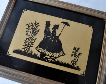 Vintage Painting on Glass and Gilt Wood Jewelry Box/Vintage 1940s/Gold and Black Silhouette Reverse Painting On Glass Cover