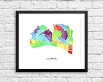 Alexandria Map Print.  You choose the colors and size.  Virginia City Wall Art.  Made in VA.  Show your Local Love.