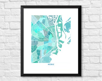 Mobile AL Map Print.  Choose your Colors and Size.  Alabama Housewarming Gift.