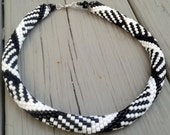 Crocheted Rope Beaded Necklace in Black and White Geometric Design-Free Shipping