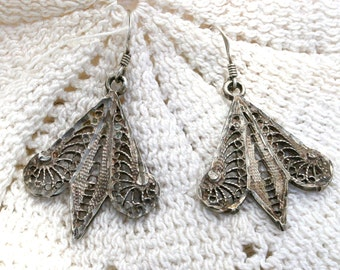 Vintage Sterling Silver Earrings -Filigree and Sterling Silver Ear Wires