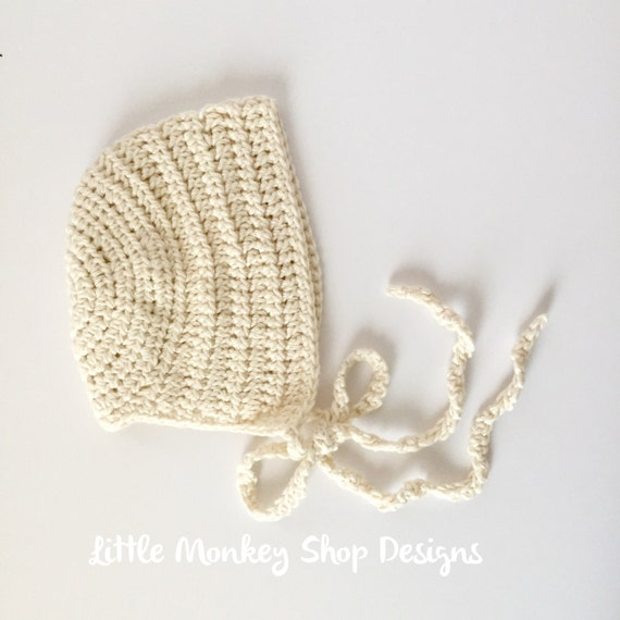 Crochet Thread Baby Bonnet Pattern : DIY Crochet Pattern Kit Baby Bonnet Yarn by LittleMonkeyShop