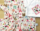 Baby Gift Set - Paris je t'aime! includes baby bodysuit, bib, burp cloth - available in size Newborn - 24 months