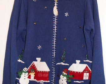Ugly Christmas Sweater Cardigan SARAH BENTLEY Size Large Snowman House Scene Trees Tacky
