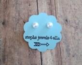 Mini White Classic Flatback Pearl Earrings