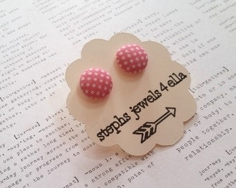 Pale Pink with White Polka Dots Fabric-Covered Button Earrings