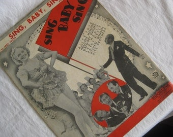 Vintage music sheet, Sing Baby Sing, from 1936, great condition, for collectors, musicians, paper art etc.