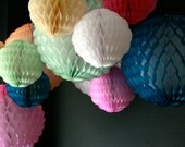Honeycomb Puff Ball Decorations / Wedding Decorations / Birthday Party decor / Tissue Paper Ball / PomPom / Scalloped Decoration / reusable